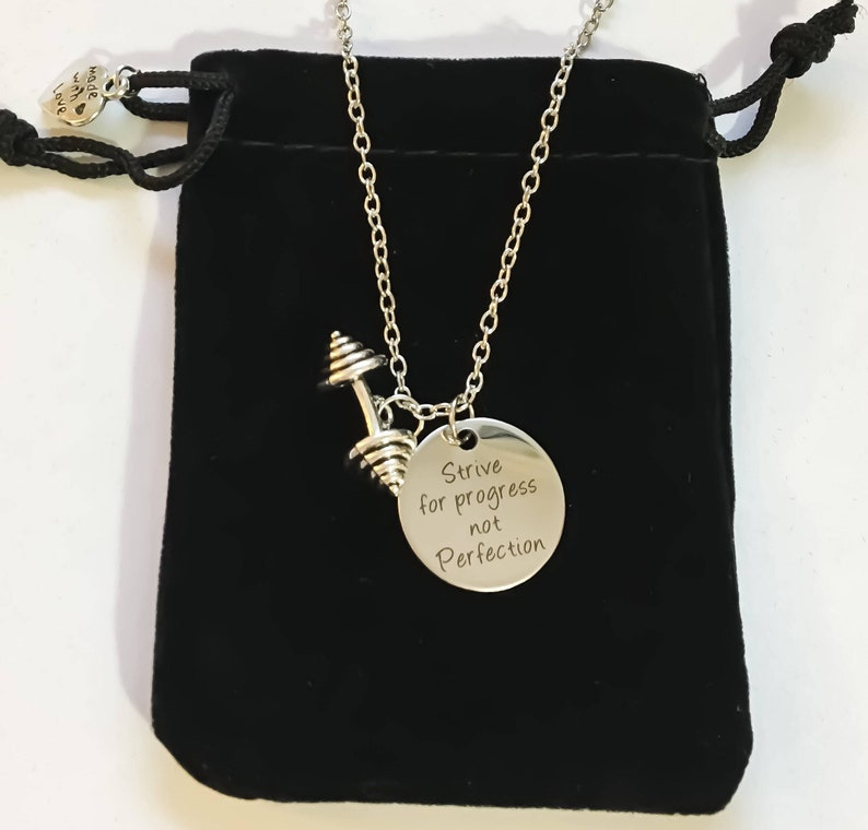 Workout Fitness Jewelry Barbell Charm Fitness Necklace Crossfit Gift Inspirational Necklace Motivational Jewelry Strive for Progress