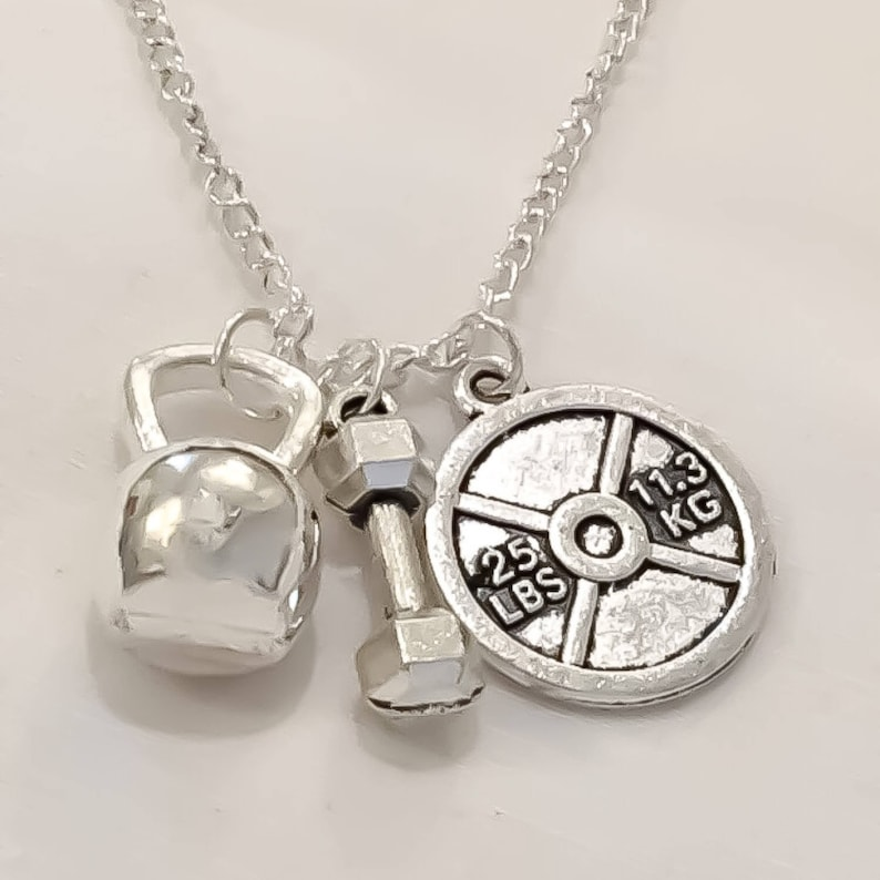 Kettlebell Fitness Necklace Dumbbell Charm Jewelry
