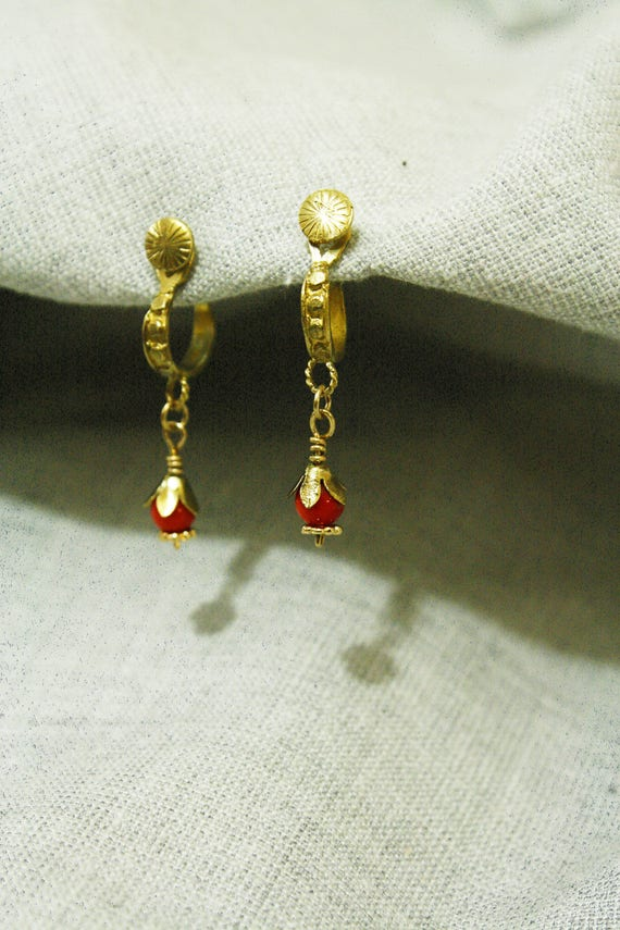 14k Gold Earrings Coral Gold Earrings Coral Earrings Gold Etsy
