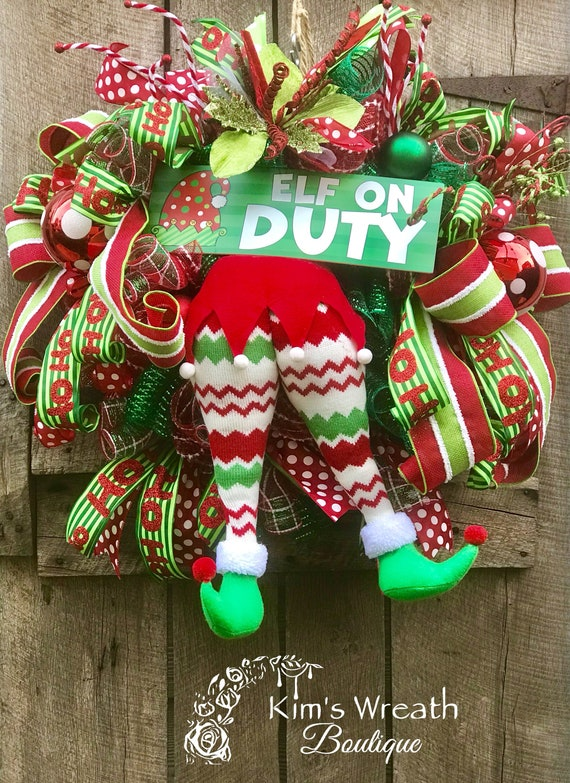 christmas wreath elf bottom wreath elf wreath holiday etsy
