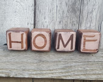 Handcrafted HOME Blocks - Rustic home decor