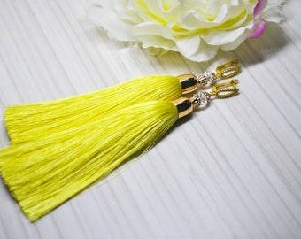 Green Tassel Earrings Gold Plated CZ Earwires Long Earrings Tassels Jewelry