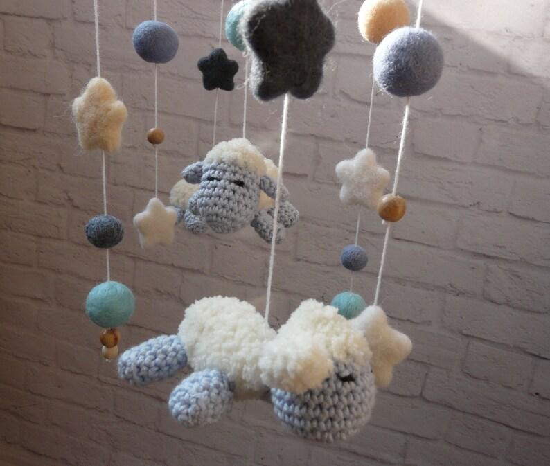 ce10a92508e66 Sheeps Crochet Baby Mobile blue Nursery decor Crib mobile Cot