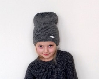 Kids Unisex Beanie Hat Girls Boys Grey Hat Toddler Merino Wool Hat Kids  Slouchy Beanie Hat Winter Autumn Kids Hat Size 3T Size 4T Size 5 0cdcbe8597d1