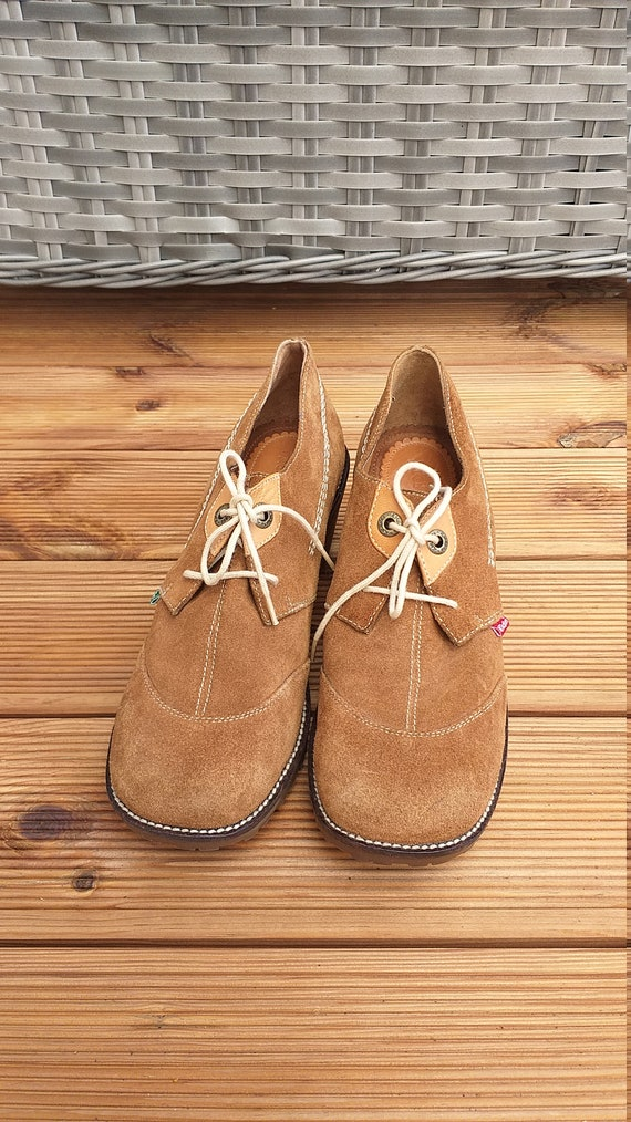 Vintage suede leather Kickers oxford shoes women,… - image 4