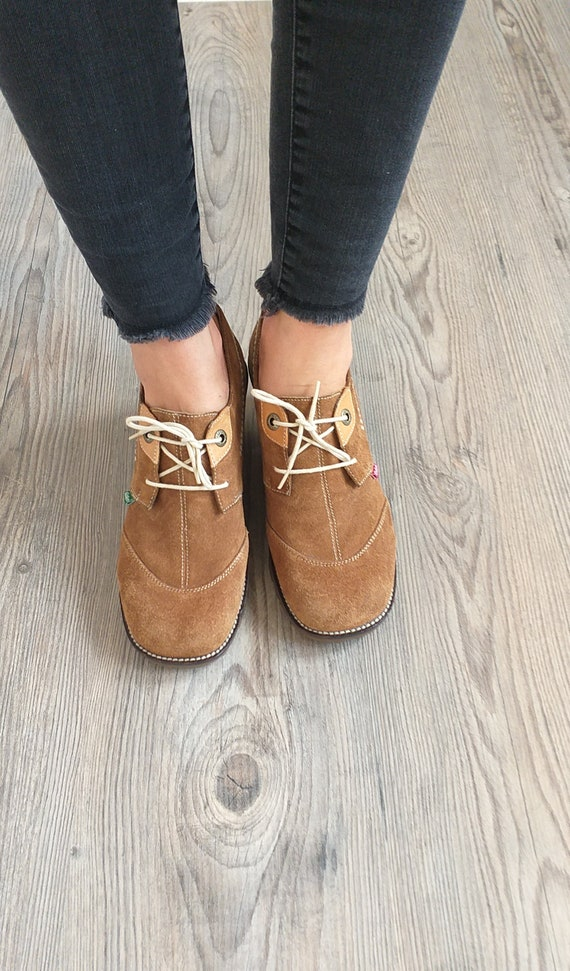 Vintage suede leather Kickers oxford shoes women,… - image 3