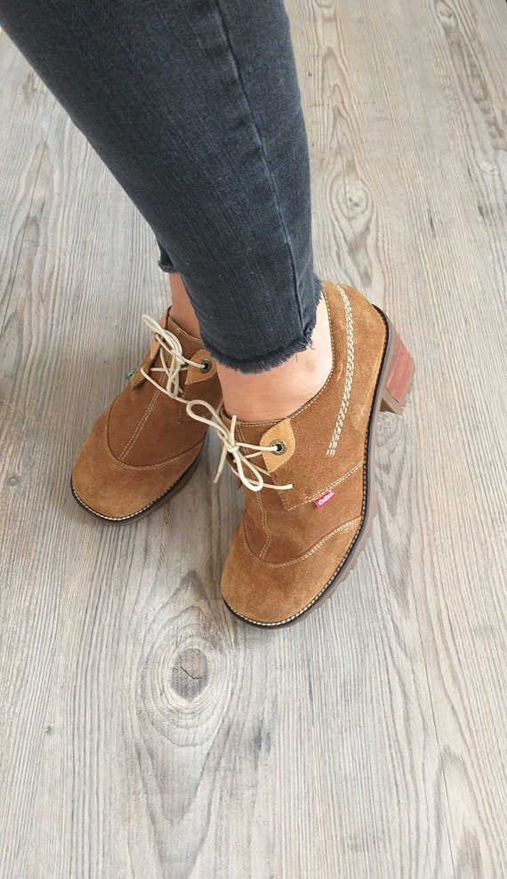 Vintage suede leather Kickers oxford shoes women,