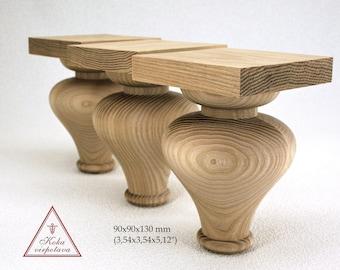 Handmade wooden leg Furniture leg Turned wooden leg Sofa leg Wooden turned feet Coffee table leg Wood feet Farmhouse table leg Bed leg Wood
