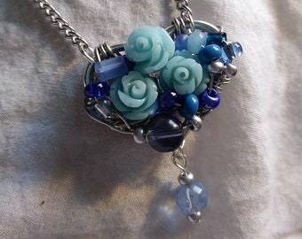 Pastel Blue Heart and Flowers Pendant Necklace