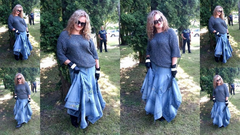 d78404529a0 Unique Denim Maxi Skirt Plus Size Maxi Jeans Skirt
