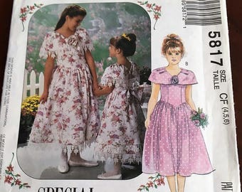 McCalls# 5817 Pattern Children's and Girl's Dress   Size 4, 5 and 6  Un-Cut - Complete