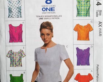 McCalls Pattern #8814, Blouse EIGHT Great Looks Sizes 4,6,8