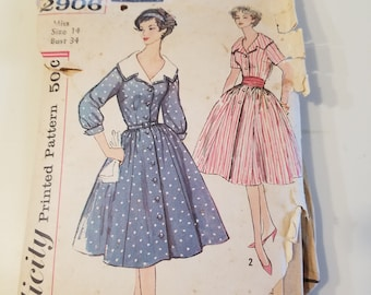 Vintage 1950's Shirt Dress Pattern