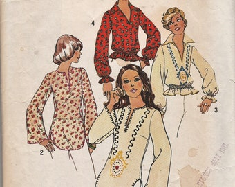 Vintage 70/'s Simplicity 6777 Folk Boho Western Embroidered Tunic Over Shirt or Elasticated Waist Top Sewing Pattern Size UK 12 Bust 34