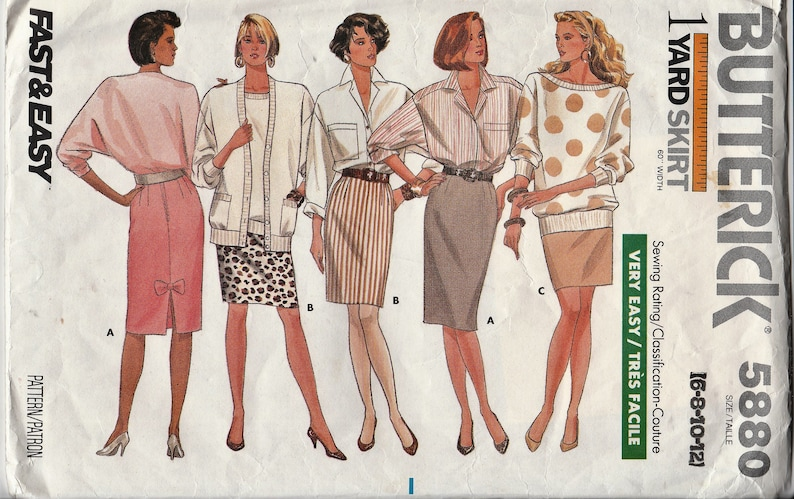 7bcefac36 Butterick 5880 Vintage VERY Easy Pencil Skirt Missse Size 6 | Etsy