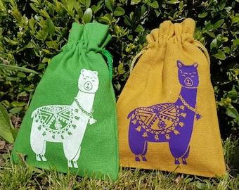 Small  pouch -Alpaca - Bag for little things or presents Kleines  Säckchen - Alpaka - Beutel für Kleinigkeiten / Geschenke - HANDPRINTED