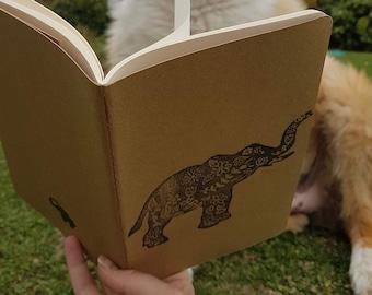 Elephant Travelbook / Elefanten Reisetagebuch / Notizbuch HANDBEDRUCKT - Linoldruck