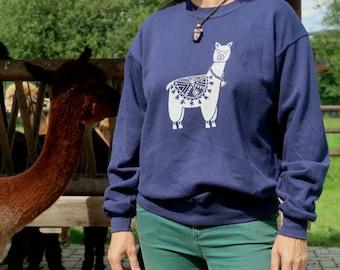 Alpaka Sweatshirt /Alpaca sweatshirt - Pullover- HANDPRINTED - UNISEX