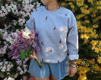 Yoga Frauen Sweatshirt - grau / Yoga women sweater jumper - grey UNISEX HANDPRINTED