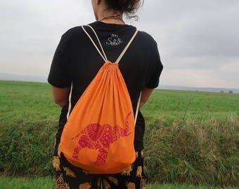 Elephant of Adventures Travelbag - bag / Elefant der Abenteuer Beutel - Turnbeutel - Rucksack - HANDPRINTED