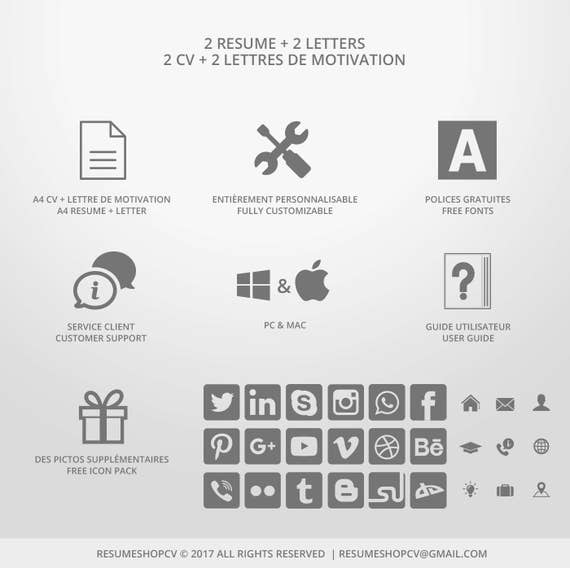 2 Cv Professional Resume Modern And Graphic 2 Letters Pack Of Extra Pictograms Worktherapy 6 0 For Microsoft Word