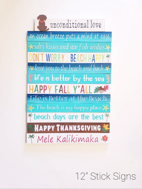 Believe in the Magic of Christmas and Let Our Hearts be full of Thanks Giving 2 Sided Hand Painted Wood Board Skinny Stick Sign Home Decor