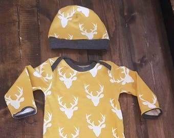 Newborn Gown, Baby Gown, Deer Gown, Baby Clothes