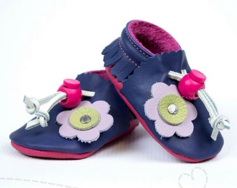 6a2742c40d1db Leather Baby Shoes for Baby Girl: White with Lavendar and | Etsy