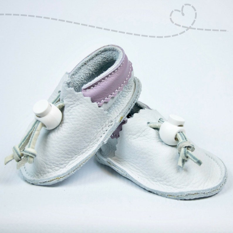 d0d03fbf98832 Leather Baby Shoes for Baby Girl: White with Lavendar Leather Baby  Moccasins ~ Adjustable ~ Handmade