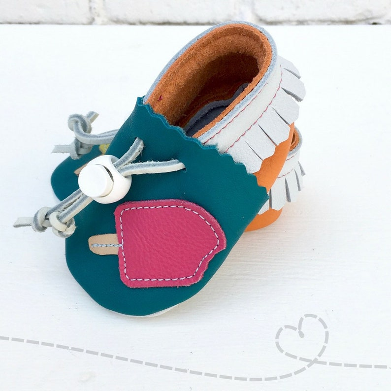 1ce82349f72a4 Leather Baby Shoes ~ Dreamsicle ~ Popsicle ~ Leather Baby Booties ~  Adjustable ~ Handmade
