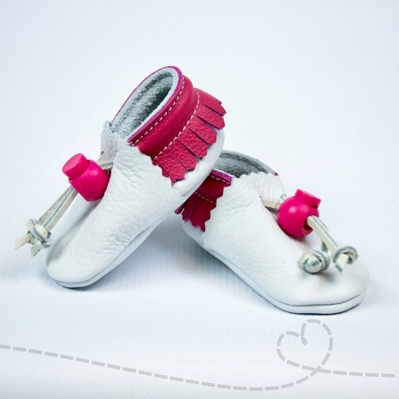 824f35c7ac7c8 Leather Baby Shoes for Baby Girl: White and Pink Fringed Leather Baby  Bootie ~ Adjustable ~ Handmade