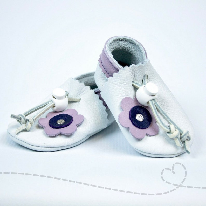 f8b88c81b0613 Leather Baby Shoes for Baby Girl: White with Lavendar and Flower Accent  Leather Baby Booties ~ Adjustable ~ Handmade