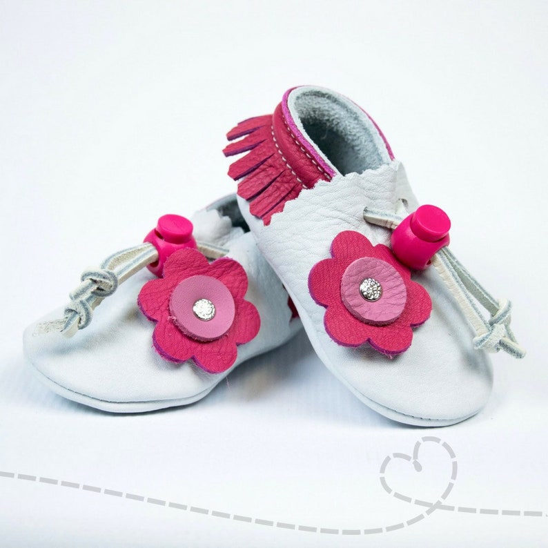 4cb2a1694088b Leather Baby Shoes for Baby Girl: White with Hot Pink Fringe and Flower  Accent Leather Baby Booties ~ Adjustable ~ Handmade