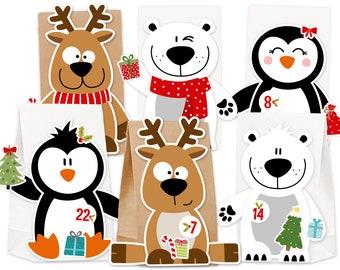 Advent Calendar X-Mas Friends for Filling & Crafting DIY Complete Set for Kids No Glue and No Scissors Necessary Christmas Calendar