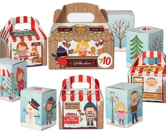 Advent calendar for filling - Christmas market - finished boxes in 3 sizes - 24 advent calendar numbers for sticking - reusable