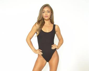 e07f968fa2 Black Rib Knit Bodysuit with Snap Closure and Brief Cut Bottom - Womens  Snap Crotch Bodysuit - Leotard - One Piece - Tank Top