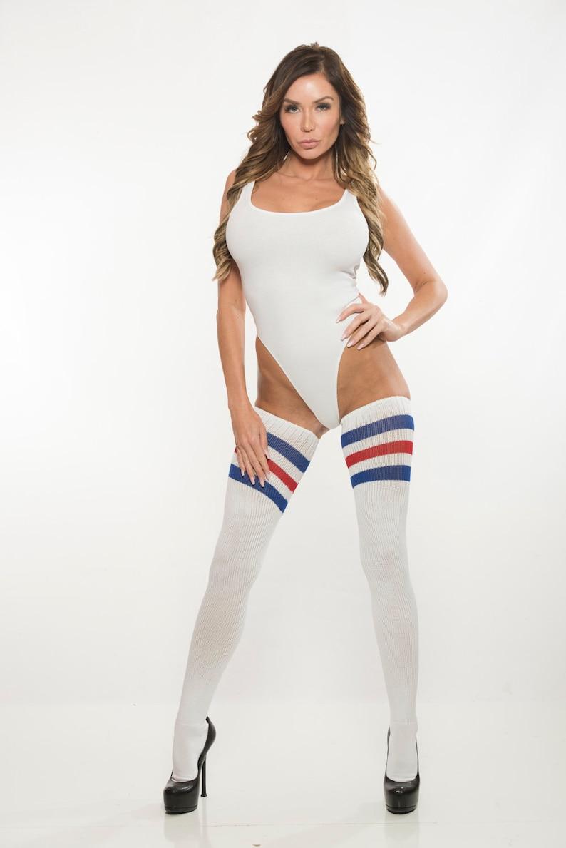 b3cdd1a96 White Rib Knit Thong Leotard Cotton Bodysuit One Piece