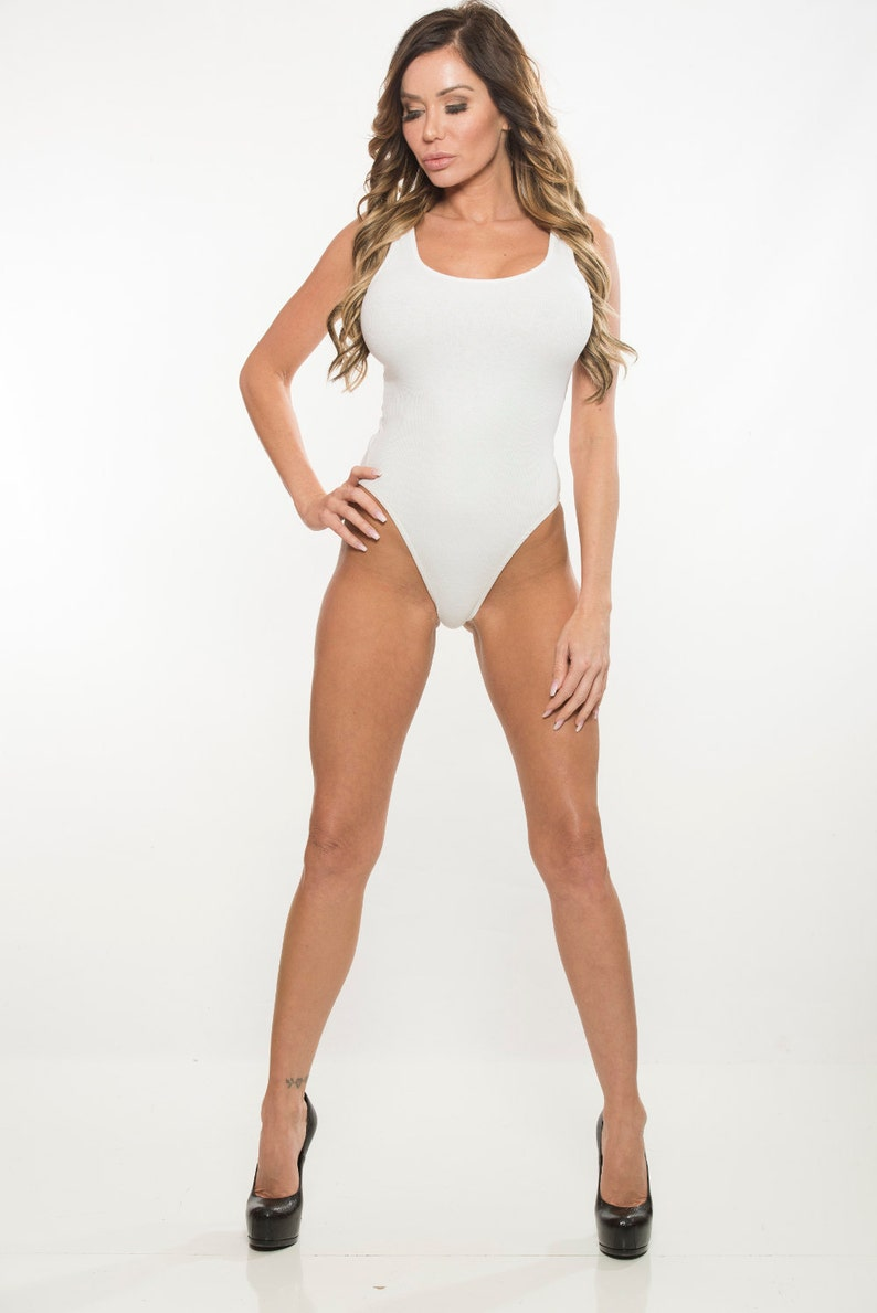 38d48ea2d084 White Rib Knit Bodysuit with Snap Closure V.2 and Brief Cut | Etsy
