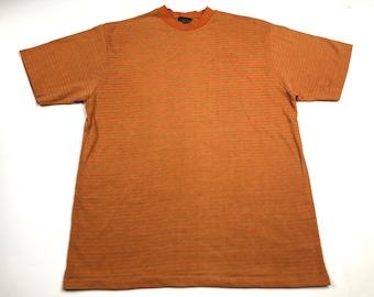 43d6a7300668e6 Vintage 70s sears mens store 65% polyester 35 cotton striped t-shirt mens  XL fits L orange green surfer machine washable