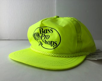 62cca31b4456d Vintage 90s bass pro shops nylon neon green snapback cap hat deadstock