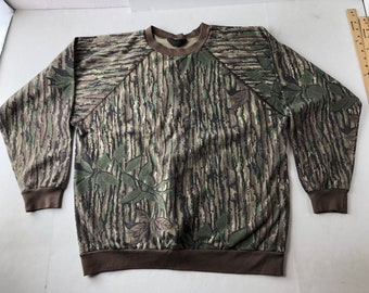 purchase cheap cd147 2fa44 Vintage 90s realtree camo crewneck sweatshirt mens XXL fits XL camouflage  army poly cotton