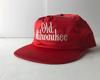 57431b603ff85 Vintage 80s old milwaukee beer satin snapback cap hat deadstock embroidered  red