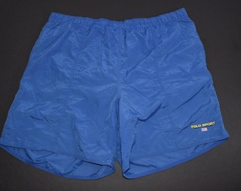 3862a9bdfa Vintage 90s Ralph Lauren polo sport blue swimming trunks mens XXL spell out  swim shorts