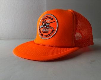 6df3a527d3f62 Vintage 90s wisconsin hunter safety trucker cap hat blaze orange DNR