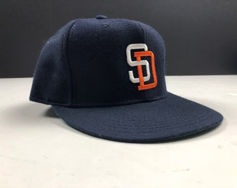 NOS Vintage 80s San Diego padres new era fitted baseball cap hat size 7 1 8  mlb pro model authentic diamond collection c8dc1245d899