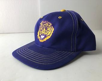 9e512a5a2bcfd Vintage 90s LSU tigers snapback cap hat ncaa football louisiana state  university