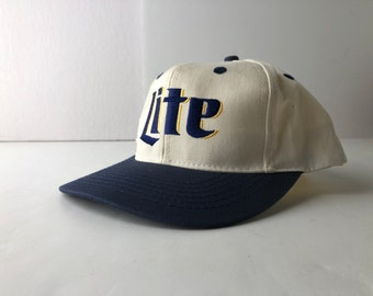 fec8b22ca4400 Vintage 90s miller lite beer snapback cap hat the deadstock embroidered