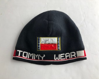 Vintage 90s Tommy Hilfiger tommy wear fleece beanie skull cap winter hat 117d1c3077e2