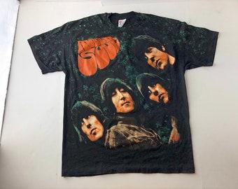 216b7ca966b6 Vintage 90s the beatles rubber soul all over print t-shirt mens XL fits L  single stitch john lennon