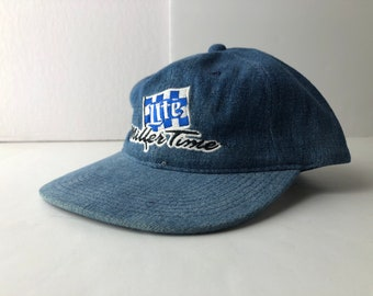 7fbb6d6979a69 Vintage 90s miller lite beer miller time racing snapback cap hat deadstock  embroidered denim nascar
